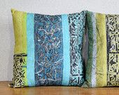 "Square Linen Knife Edge Pillow Cover w/ Zipper Close in Blue & Green ""Adirondack Quilt"" - Artisan Botanical Design Made in Maine"