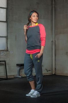 I'd love to cozy up in this after a chilly run: adidas Boyfriend Crew ($45) and Live In Capri Pant ($45).