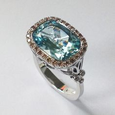 Aquamarine And Brown Diamond Ring | From a unique collection of vintage fashion rings at www.1stdibs.com/... GIOIELLI DALBEN