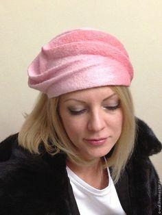 Купить ФРУКТОВЫЙ ЗЕФИР - бледно-розовый, шерсть меринос, шляпка, Аксессуары handmade, головной убор
