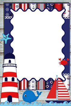 Nautical Photo Booth, Nautical Party, Baby Shower Decorations For Boys, Baby Decor, Baptism Party Girls, Christening Invitations Boy, Nautical Background, Happy Birthday Posters, Frame Border Design