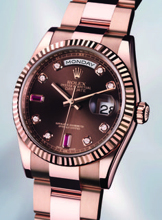 Rose Rolex with chocolate dial. Stunning.