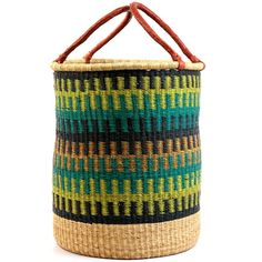 This hamper has an open top and two sturdy handles. Great for organizing childrens' rooms, for laundry, or any number of household organization tasks. Weavers in the region use the abundant Vetavera grass to weave these useful baskets. Leather wrapped handle adds to the durability and beauty.