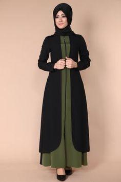 C.M.N - Yeleği Dantel Çift Renkli Ferace MDS5140 Siyah&Haki Hijabi Gowns, Pakistani Dresses, Islamic Fashion, Muslim Fashion, Abaya Fashion, Fashion Dresses, Dress Outfits, Stylish Hijab, Hijab Chic