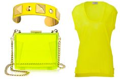 NEON YELLOW While spring saw a resurgence of pretty pastels including a soft, lemon-inspired yellow, summer calls for something that really gets noticed. That's why we're cranking up the color voltage and giving neon yellow our stamp of color approval. Not sure about the electric hue? Add it in smaller doses — a bag with neon yellow piping, or even a neon yellow clutch. Otherwise, strut your stuff in something more prominently neon.