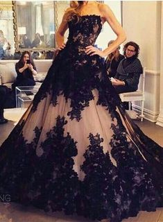 Black Prom Dresses Ball Gown lace Beaded Long Evening Dress Formal Gown