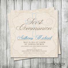 First Communion Invitation Girl First by MadJaxDesignandPrint