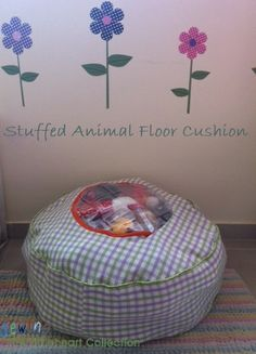 Sewing The Littleheart Collection: Stuffed animal storage floor cushion--- Momma needs a sewing machine.