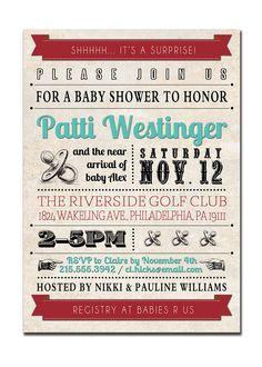 Baby Shower Invitation Vintage Retro Baby Shower Typography Retro Wedding Invitation Baby Boy