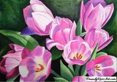 Tulips Color Drawing by BrandyRoseArt.com #tulips #drawing #flower