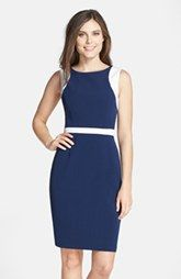 Adrianna Papell Cutout Colorblock Crepe Sheath Dress