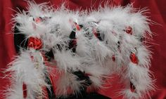 Handfasting cord in black white and red with marabou trim, white and red satins, organza and diamante trim by BindingTies