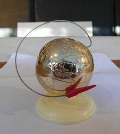 Vintage Sputnik Russian Soviet USSR SPACE ERA Rocket Globe 60s Souvenir NR