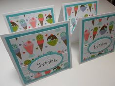 "Set of 4 Ice Cream ""Thanks"" Mini Cards via Etsy"