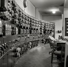 Shorpy Historical Photo Archive :: Flow Master: 1940Control room, waterworks. Conduit Road, Washington, D.C