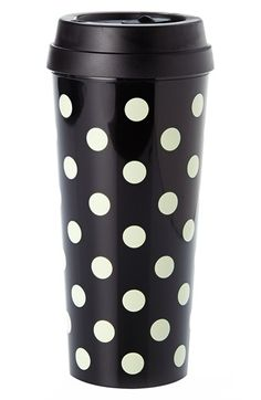 Whether you fancy hot coffee, or iced green tea, take it to go in these thermal mugs. the bpa-, phthalate-, and lead-free construction means you can sip and savor safely. MATERIAL – acrylic thermal mug with plastic lid FEATURES – lid has open. Thermal Travel Mug, Thermal Cup, Travel Mugs, Coffee Travel, Black White, Black Dots, Hot Coffee, Coffee Cups, Coffee Break