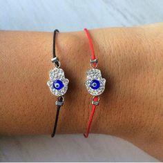Sale Black Color Silver Evil Eye Hamsa Hand by santorinijewellery