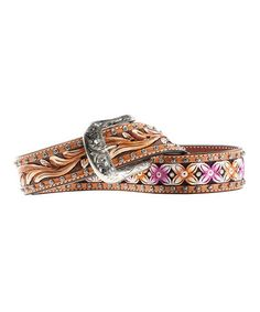 Take a look at this Tan & Pink Blossom Belt by Ariat on #zulily today!