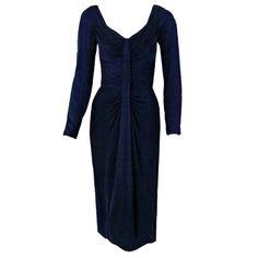 via BKLYN contessa :: 1950s Ceil Chapman Navy-Blue Ruched Silk-Jersey Cocktail Dress