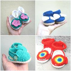 Crochet baby girl sandals 4 patterns Baby girl shoes patterns