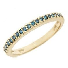 0.22ct Pave Gold Blue Diamond Wedding Anniversary Band Ring 10k Yellow Gold (0.22 Cttw, SI Clarity, H Color) Size 8 Wedding Ring Finger REVIEW