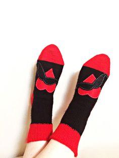 Valentine's day gift, for her, for his, lovers scoks, handmade scoks, mustache, heart, gift for lovers, partner gift