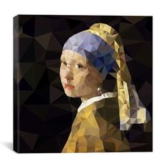 Brayden Studio Girl With Pearl Earring Derezzed Graphic Art on Wrapped Canvas Size: