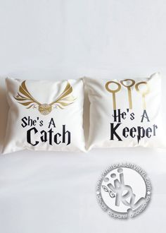 Harry Potter Catch & Keeper Pillow Cases Hogwarts wizards anniversary wedding reception birthday home decor