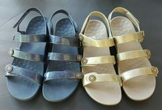 👣 VIONIC 👣 Women's Cathy 2 pair Gold and Blue Demim Sandal Size 11 Orthaheel #Vionic #AnkleStrap #Casual