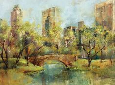 Spring in the Park Painting Print on Wrapped Canvas