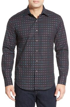 Bugatchi Shaped Fit Check Sport Shirt available at #Nordstrom