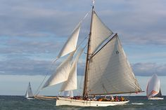The gaff cutter 'Thalia' competing in the J.P. Morgan Asset Management Round the Island Race.