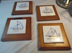 Sail-Boat-Spritsail-Barge-Schooner-Cutter-Ketch-Set-4-Wood-And-Tile-Wall-Decor