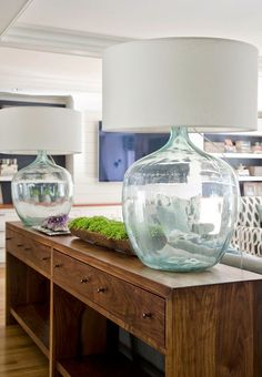Glass ball table lamp and grey shade pinterest primroses glass glass lamps and a console table of turquoise olson lewis architects and kristina crestin design mozeypictures Choice Image