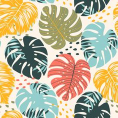 Art And Illustration, Botanical Illustration, Wall Drawing, Painting & Drawing, Tropical Art, Leaf Art, Surface Pattern Design, Botanical Art, Pattern Wallpaper