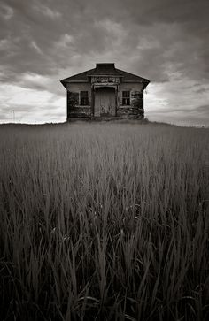 M o d e l,            Ft. Berthold Reservation,  Mountrail County,  North Dakota.    This little schoolhouse named Model for its township. Its still sits atop a lonely hill.