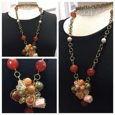 2016 Collection. Carnelian faceted wired wrapped with bone and crystal on pendant. Antique brass knurl chain . Hand made .One of a kind everyday exotic jewelry. #gem4jewels #oneofakind #holiday2016 www.gems4jewels.com