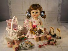 1955 56 SLW Vintage Vogue Ginny Doll in Play Dress w Toys | eBay