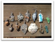 A tutorial on making wire wrapped charms, using shells, sea glass, corks, fused glass. Step by Step instructions.