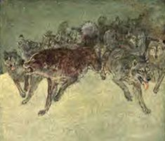 Illustration of Buck leading a pack of wolves Call Of The Wild, Wolves, Moose Art, It Cast, Artsy, Illustration, Animals, Animaux, A Wolf