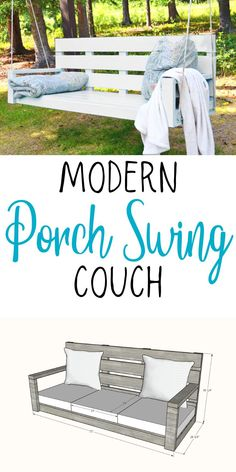 Build your own porch swing in a couch size! Fits standard 24 x 24 inch outdoor cushions. Basic design is easy to build with a simple tools and off the shelf materials. Free plans by Ana-White.com #anawhite #porchswing #largeporchswing #diy #outdoorbuilds #woodworking Diy Outdoor Furniture, Diy Furniture Plans, Handmade Furniture, Porch Furniture, Furniture Makeover, Woodworking Projects Diy, Diy Wood Projects, Woodworking Plans, Modern Porch Swings