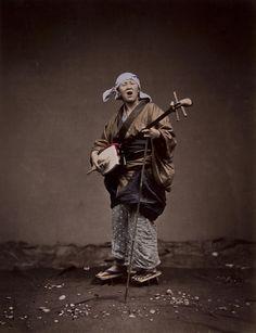 Japanese musician c.1880. Photograph attributed to Kusakabe Kimbei. Grummio Look. Pants and style