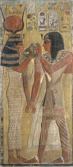 Séthi 1er et la déesse Hathor - panneau prélevé par Champollion dans la tombe du Pharaon - . le Louvre - Paris