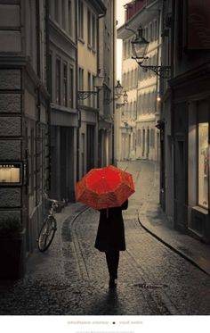 Red Umbrella in the Rain - definitely want a picture of the love & I like this in some random country!
