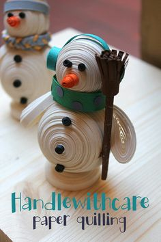 Paper quilling snowman White Christmas