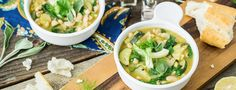 Zingy Italian White Bean Soup  This recipe begins a day ahead, when you will need to soak dried cannellini beans overnight. Start cooking them a little while before you begin chopping the vegetables, and they should be ready by the time you're ready to make...  Read more