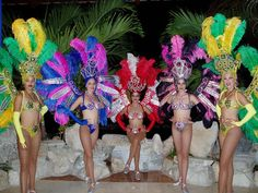 Cuban Dancing Ladies in traditional costumes