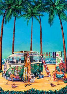 Definitely Got the Surfing Bug Beach Rides, Retro Surf, Tropical Art, Surf Art, Beach Art, New Art, Illustration, Fantasy Art, Art Drawings