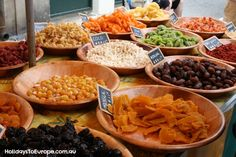 Dried fruit stall, Olonzac Market http://www.holidaystoeurope.com.au/home/resources/destination-articles/france/838-shopping-at-the-olonzac-market