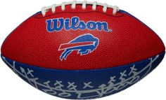 "Buffalo Bills Team Logo Mini Football by Wilson. $12.95. NFL Team Logo Mini Football-Buffalo Bills. Great for play on any surface. Pee Wee sized swen rubber team logo football. This Wilson® NFL® team logo mini football is perfect for some pre-game tailgating fun. The top of the team-colored football is decorated with the team graphics, while the bottom of the ball features ""play arrow"" graphics."